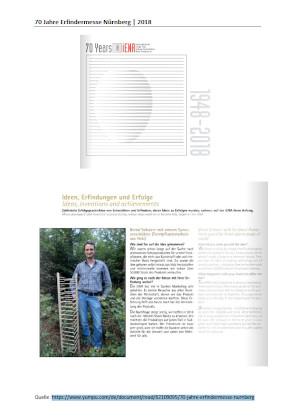 """Beitrag im Katalog """"70 Jahre Erfindermesse Nürnberg"""""""
