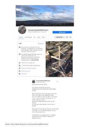 Facebook-Beitrag Gemeindewald Wehrheim